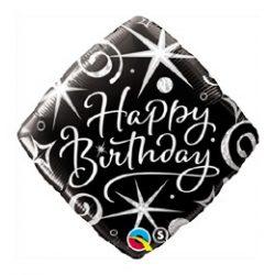 18 inch-es Birthday Elegant Sparkles and Swirls Szülinapi Fólia Lufi