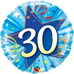 18 inch-es 30-as Shining Star Bright Blue Szülinapi Fólia Lufi