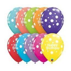 11 inch-es Birthday Big Polka Pettyes Szülinapi Lufi