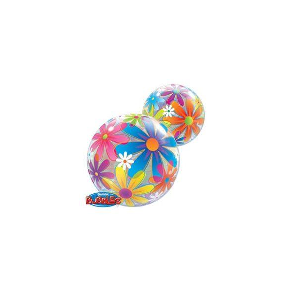 Buborék Lufi - Színes Virágok, 56 cm