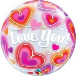 Love You Szerelmes Szívek Buborék Lufi, 56 cm