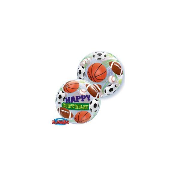 Sportlabdás Szülinapi Buborék Lufi - 56 cm