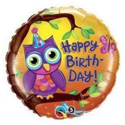 18 inch-es Birthday Owl - Bagoly Szülinapi Fólia Lufi