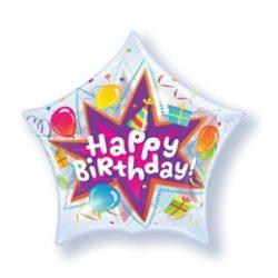 22 inch-es Birthday Party Blast - Csillag Alakú Szülinapi Bubble Lufi