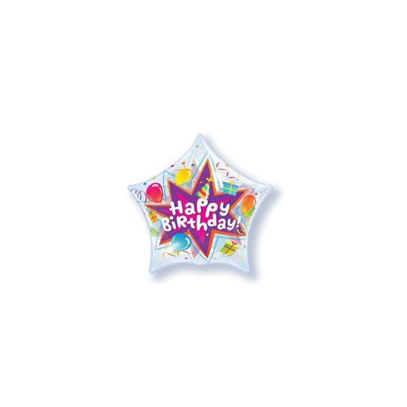 Csillag Alakú Szülinapi Buborék Lufi - 56 cm