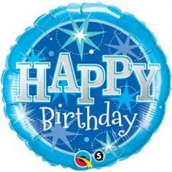 18 inch-es Birthday blue Sparkle Szülinapi Fólia Lufi