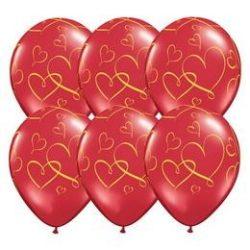 Arany Szíves Szerelmes Lufi - Áttetsző Piros, 28 cm