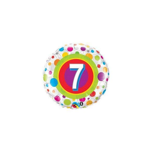 18 inch-es 7-es Colorful Dots - Színes Pöttyös Szülinapi Számos Fólia Lufi