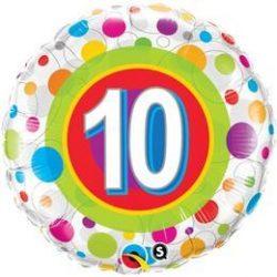 18 inch-es 10-es Colorful Dots - Színes Pöttyös Szülinapi Számos Fólia Lufi