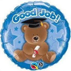 18 inch-es Good Job Bear Blue Ballagási Fólia Lufi