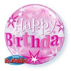 22 inch-es 21 Birthday Pink Starburst Sparkle Szülinapi Bubble Lufi