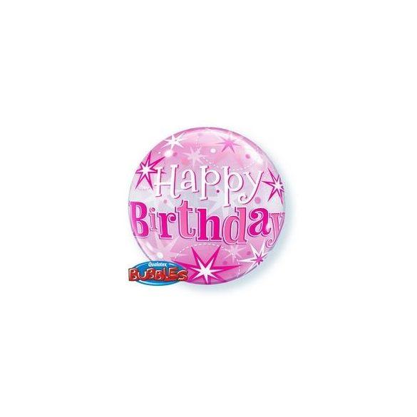 22 inch-es Birthday Pink Starburst Sparkle Szülinapi Bubble Lufi