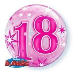 18-as Pink Starburst Sparkle Szülinapi Buborék Lufi, 56 cm