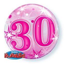 22 inch-es 30 Pink Starburst Sparkle Szülinapi Számos Bubble Lufi