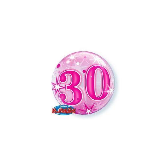 30-as Rózsaszín Szikrázó Csillag Mintás Szülinapi Buborék Lufi, 56 cm