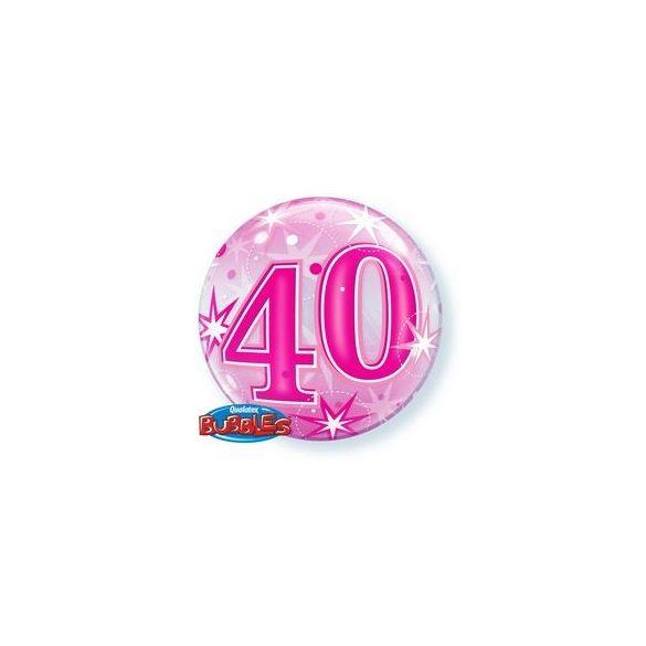 40-es Rózsaszín Szikrázó Csillag Mintás Szülinapi Buborék Lufi, 56 cm