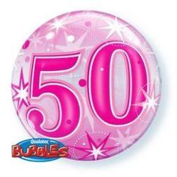 50-es Pink Starburst Sparkle Szülinapi Buborék Lufi, 56 cm