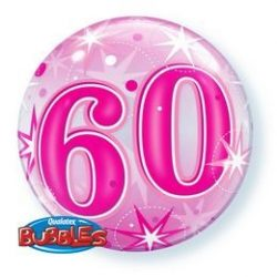 22 inch-es 60 Pink Starburst Sparkle Szülinapi Számos Bubbles Lufi
