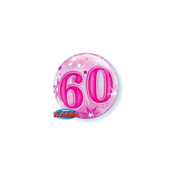 60-as Rózsaszín Szikrázó Csillag Mintás Szülinapi Buborék Lufi, 56 cm
