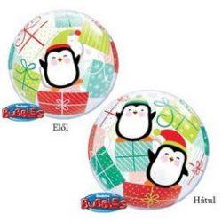 Pingvin Ajándékokkal Karácsonyi Buborék Lufi, 56 cm