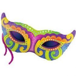 Farsangi Mardi Gras Mask Super Shape Fólia Lufi, 97 cm