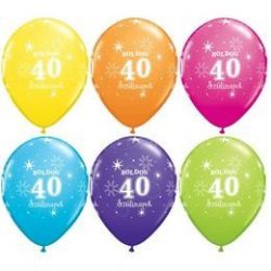 11 inch-es Boldog 40. Szülinapot Feliratú Sparkle Ast. Szülinapi Lufi (6 db/csomag)
