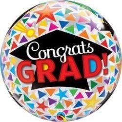 22 inch-es Congrats Grad Caps & Triangles Ballagási Bubbles Lufi