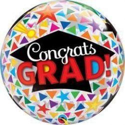 Ballagási Congrats Grad Caps & Triangles Buborék Lufi, 56 cm