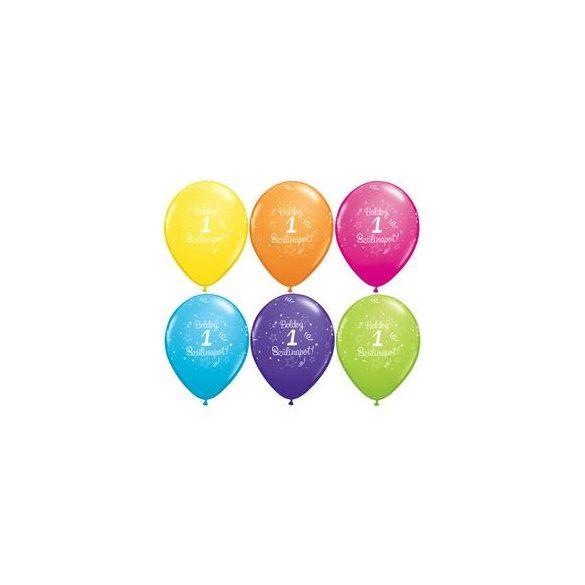 boldog szülinapot 1-es feliratú lufi 6db/cs
