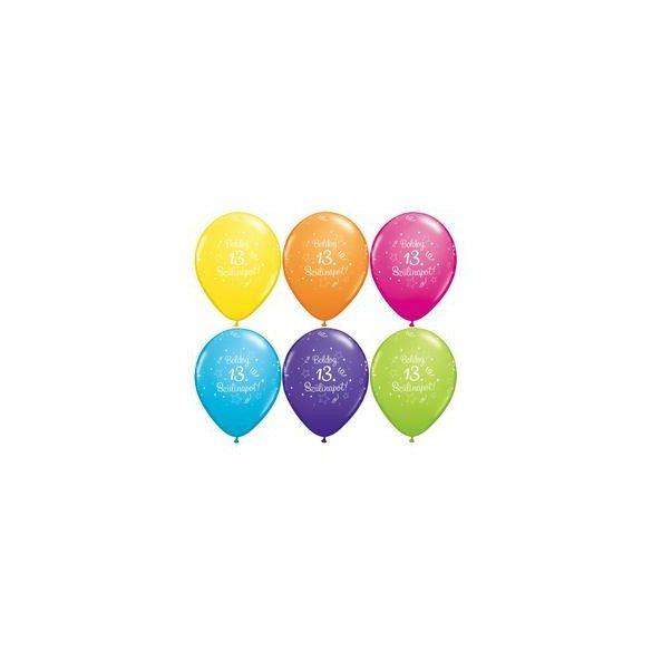 Boldog szülinapot 13-as feliratú lufi 6db/cs