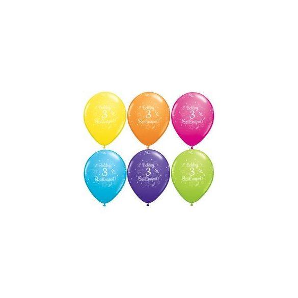 Boldog szülinapot 3-as feliratú lufi 6db/cs