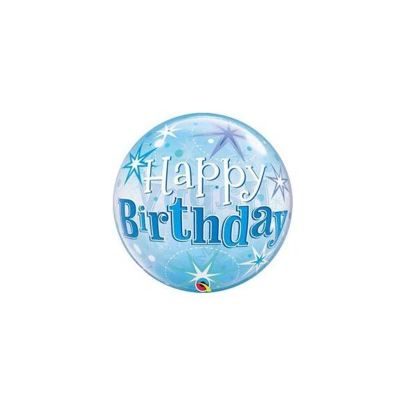 22 inch-es Birthday Blue Starburst Sparkle Szülinapi Bubble Lufi