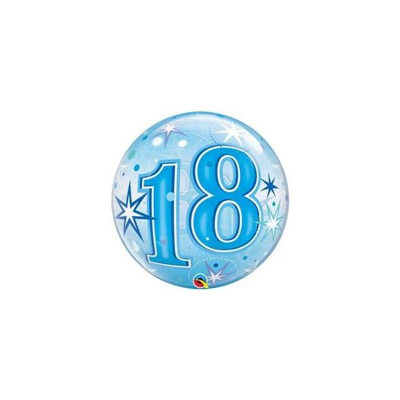 18-as Blue Starburst Sparkle Szülinapi Buborék Lufi, 56 cm
