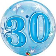 30-as Blue Starburst Sparkle Szülinapi Buborék Lufi, 56 cm