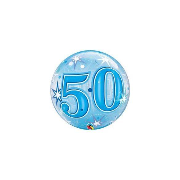 50-es Blue Starburst Sparkle Szülinapi Buborék Lufi, 56 cm
