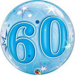 60-as Blue Starburst Sparkle Szülinapi Buborék Lufi, 56 cm