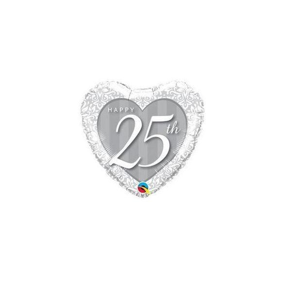 18 inch-es Happy 25th Damask Heart Fólia Lufi