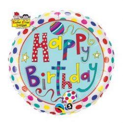 18 inch-es Happy Birthday Polka Dots and Stripes Szülinapi Fólia Lufi