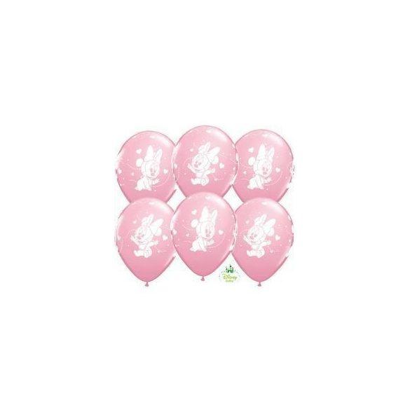 11 inch-es Disney Baby Minnie Hearts Pink Lufi (6 db/csomag)