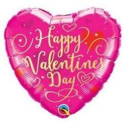 Boldog Valentin Napot Pink Szerelmes Szív Héliumos Fólia Lufi, 46 cm