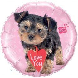Szerelmes Love You Yorkshire Terrier Kutyus Héliumos Fólia Lufi, 46 cm