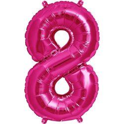 34 inch-es 8-as számos pink super shape fólia lufi