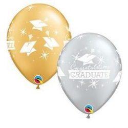 11 inch-es Congratulations Graduate Caps Silver and Gold Ballagási Lufi