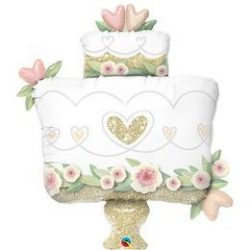 Szívecske Mintás Csillogó Esküvői Torta Formájú Fólia Lufi, 103 cm