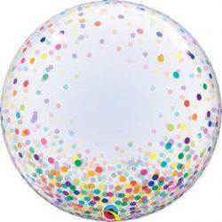 24 inch-es színes konfetti pöttyös mintás deco BUBBLE lufi