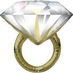 37 inch-es Diamond Wedding Ring Esküvői Fólia Lufi