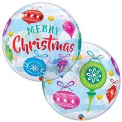 Karácsonyfadísz Mintás Héliumos Buborék Lufi, 56 cm