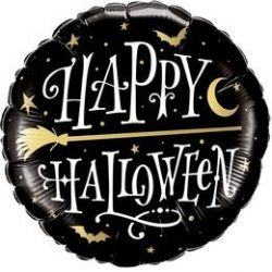 Happy Halloween Boszorkányseprű Mintás Fólia Lufi