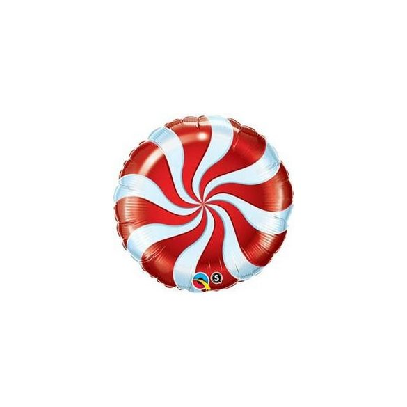 18 inch-es Nyalóka - Candy Swirl Piros Fehér Fólia Lufi