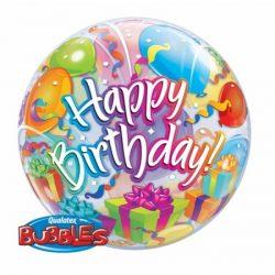 22 inch-es Birthday Presents and Balloons Szülinapi Bubble Lufi